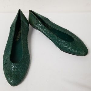 Joan & David Green Leather Slip On Flats Size 38.5